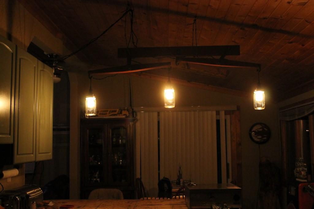 vintage, antique double tree horse yoke, edison bulb, mason jar, light fixture